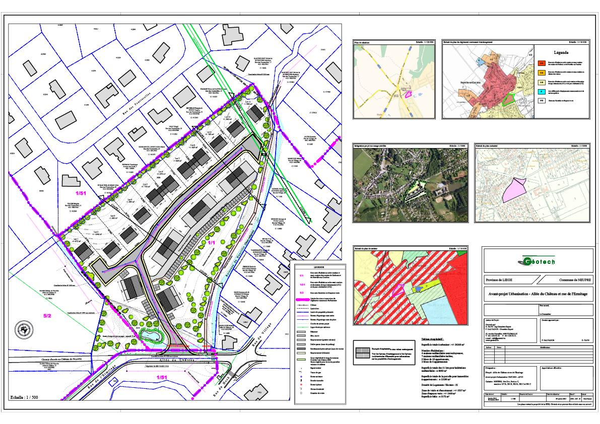 Avant-projet d'urbanisation d'un terrain à Neupré avec création d'une voirie