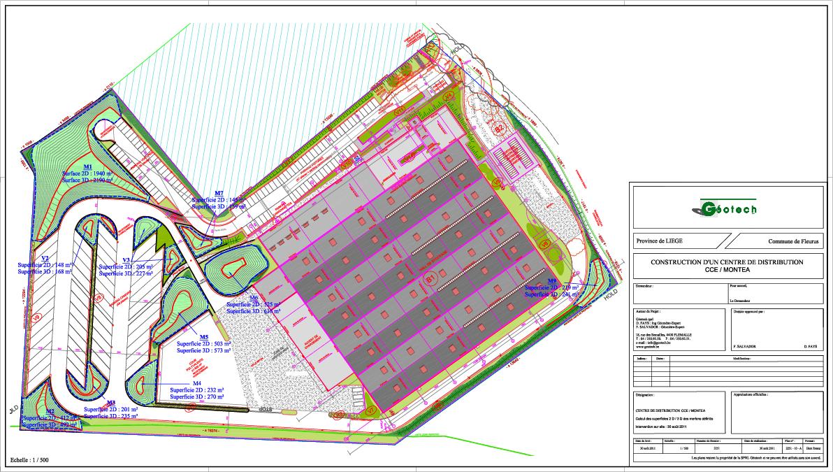 Levé technique et calcul de superficie 2D-3D pour la construction d'un centre de distribution