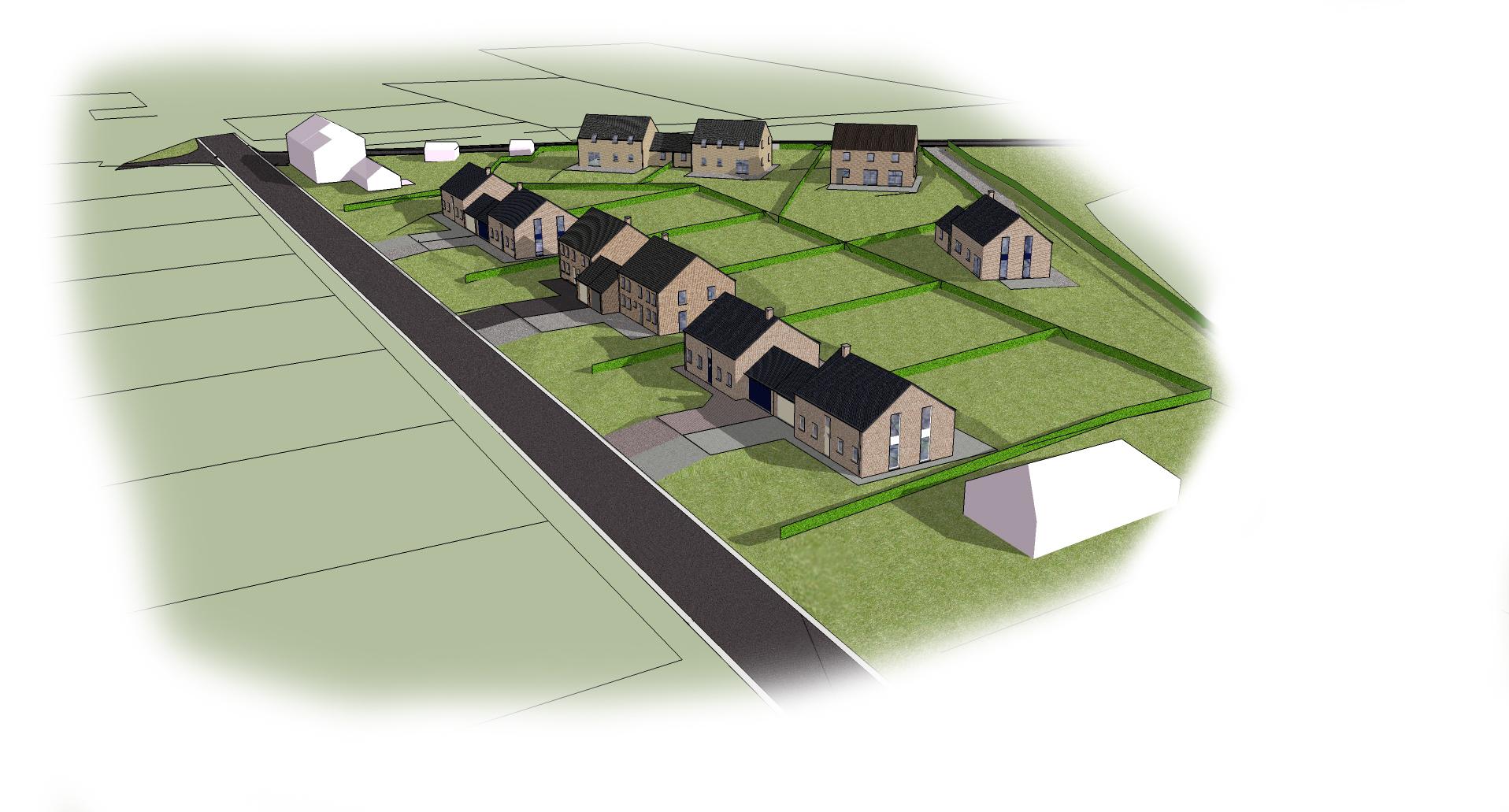 Modélisation 3D d'un projet d'urbanisation à Theux