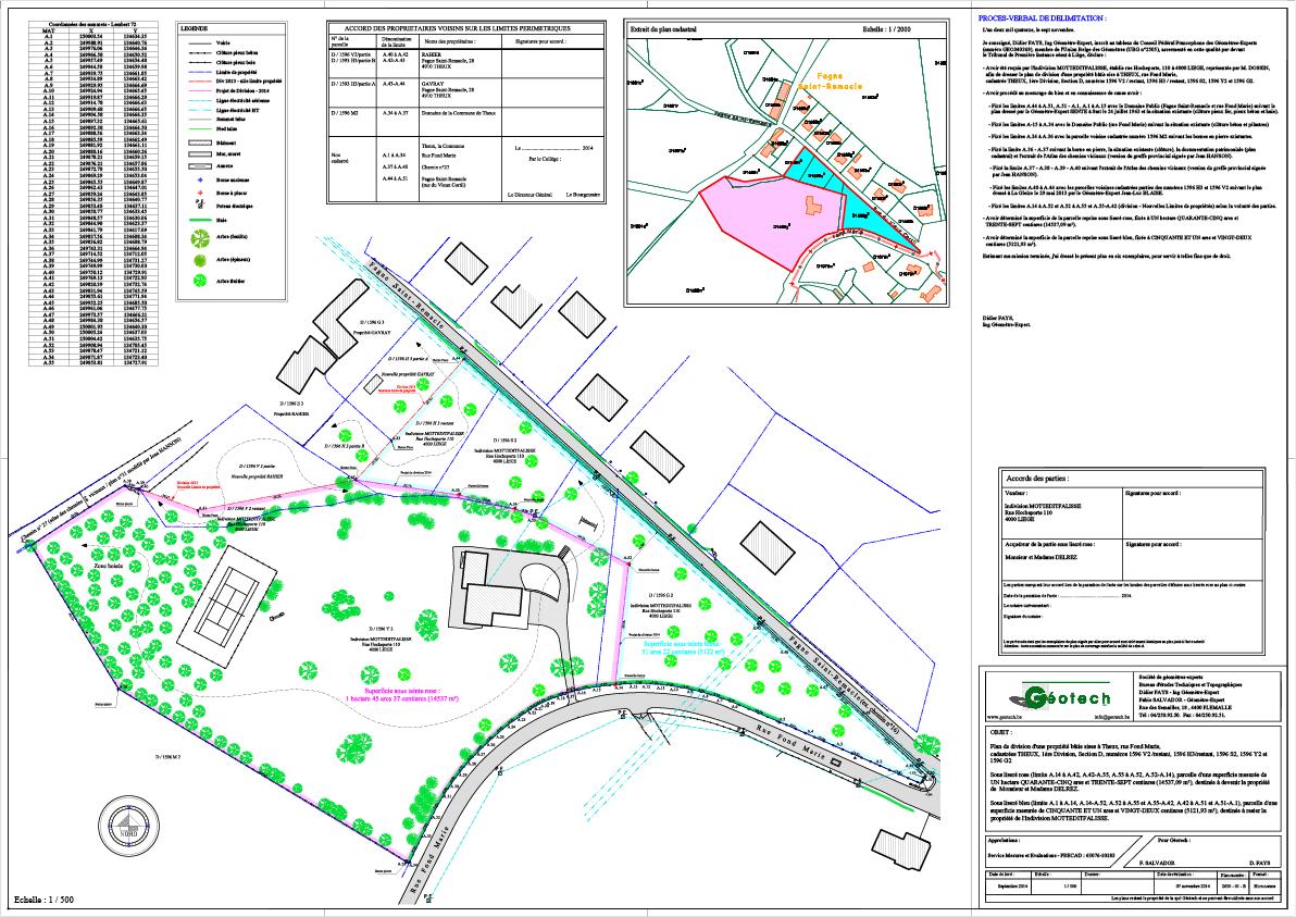 Plan de division d'un bien situé rue Fond Marie à Theux