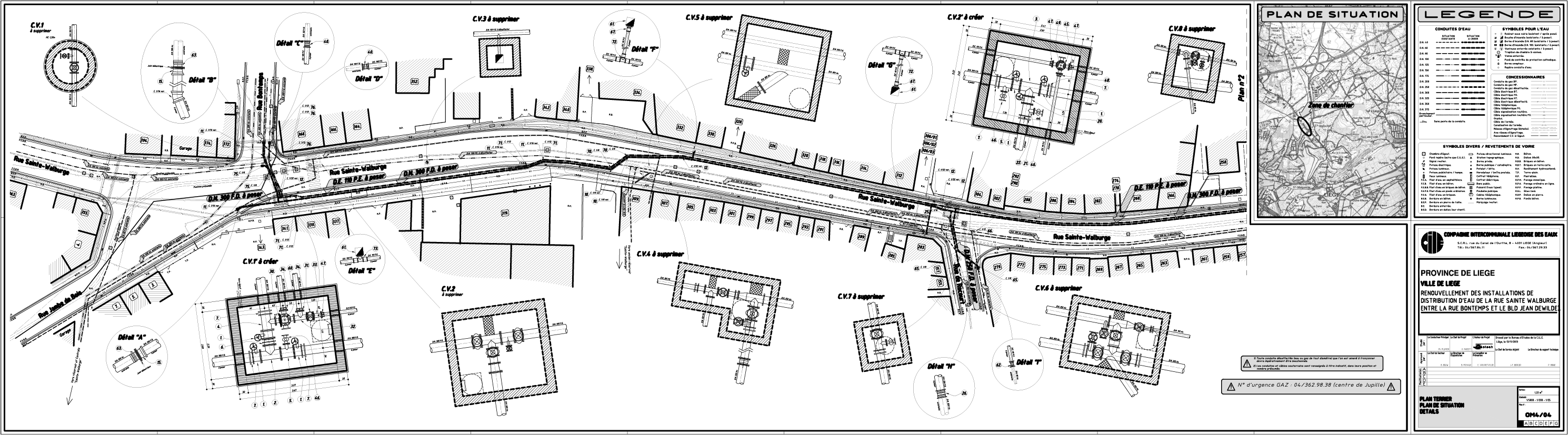 Renouvellement des installations de distribution d eau rue Sainte-Walburge à Liege