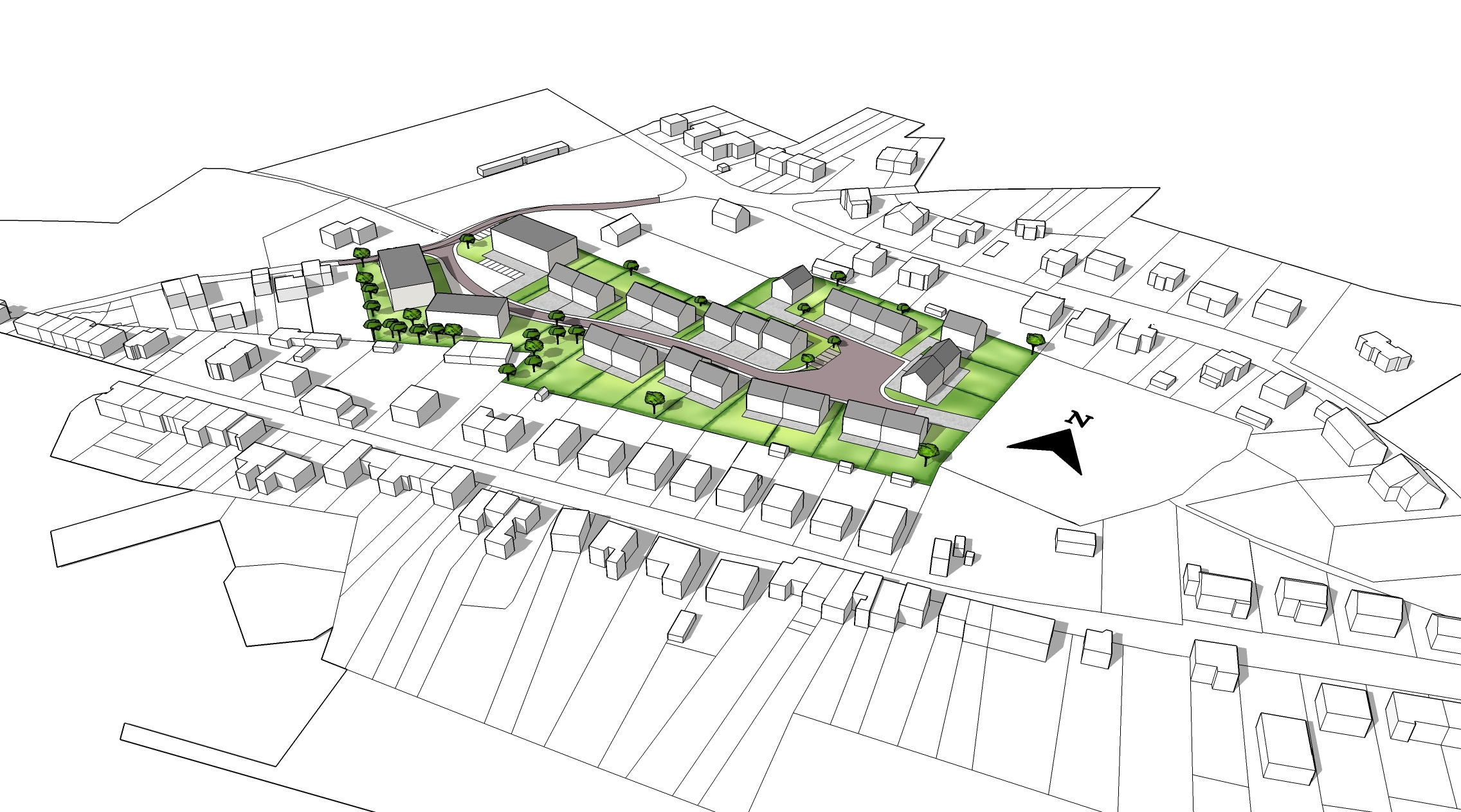 Plan 3D d'un projet d'urbanisation